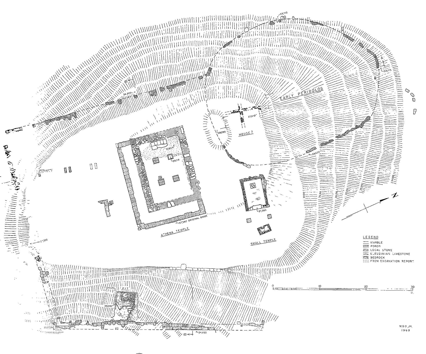 Figure 1 : plan général du sanctuaire d'Athéna (BAB, p. 33, fig 31, en haut).