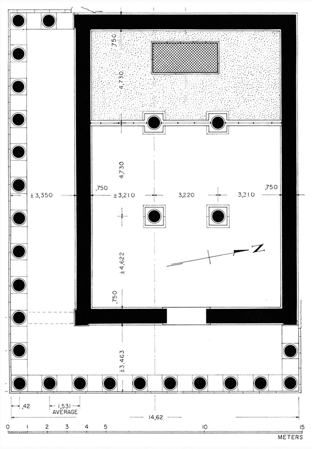 Figure 2 : plan restitué du grand temple d'Athéna (BAB, p. 95, fig. 98).