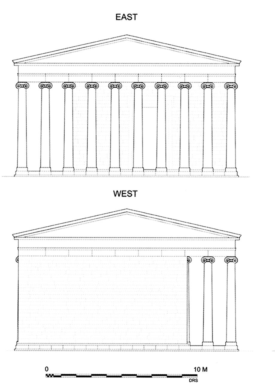 Figure 3 : temple d'Athéna, restitution des façades Est et Ouest (BAB, p. 160, fig. 174).