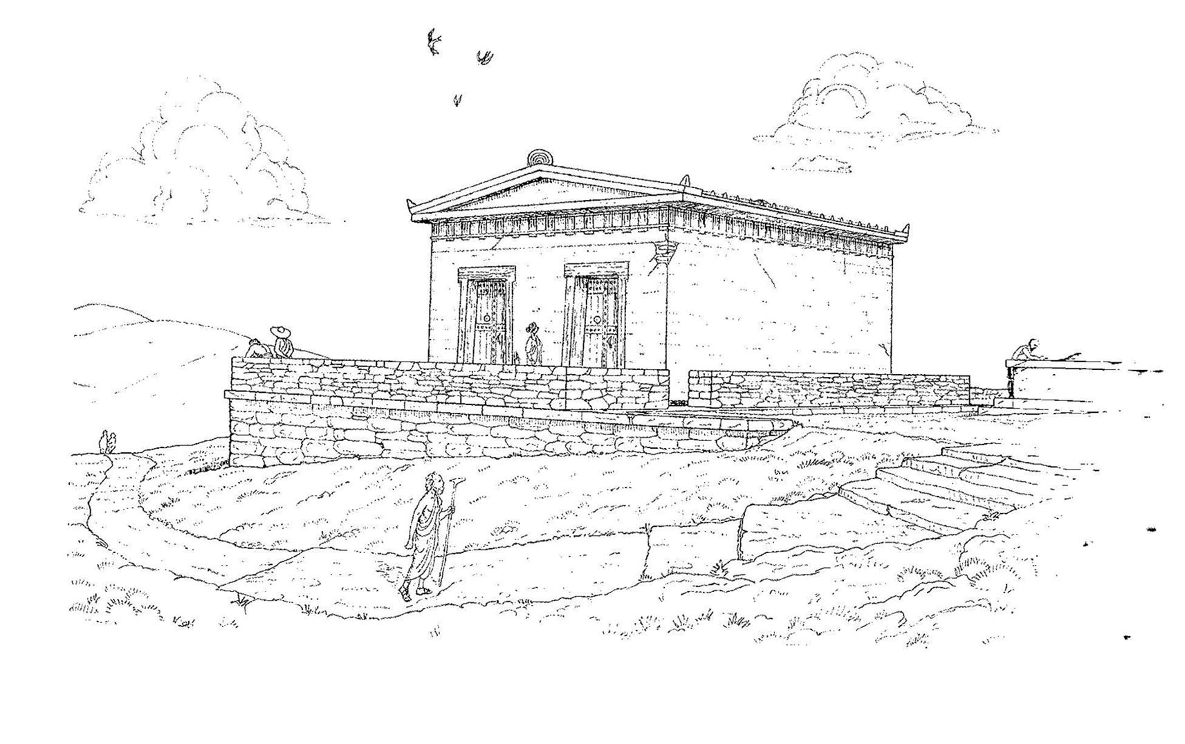 Figure 1 : Reconstitution du temple, période archaïque I (Y. Nakas, 2014)