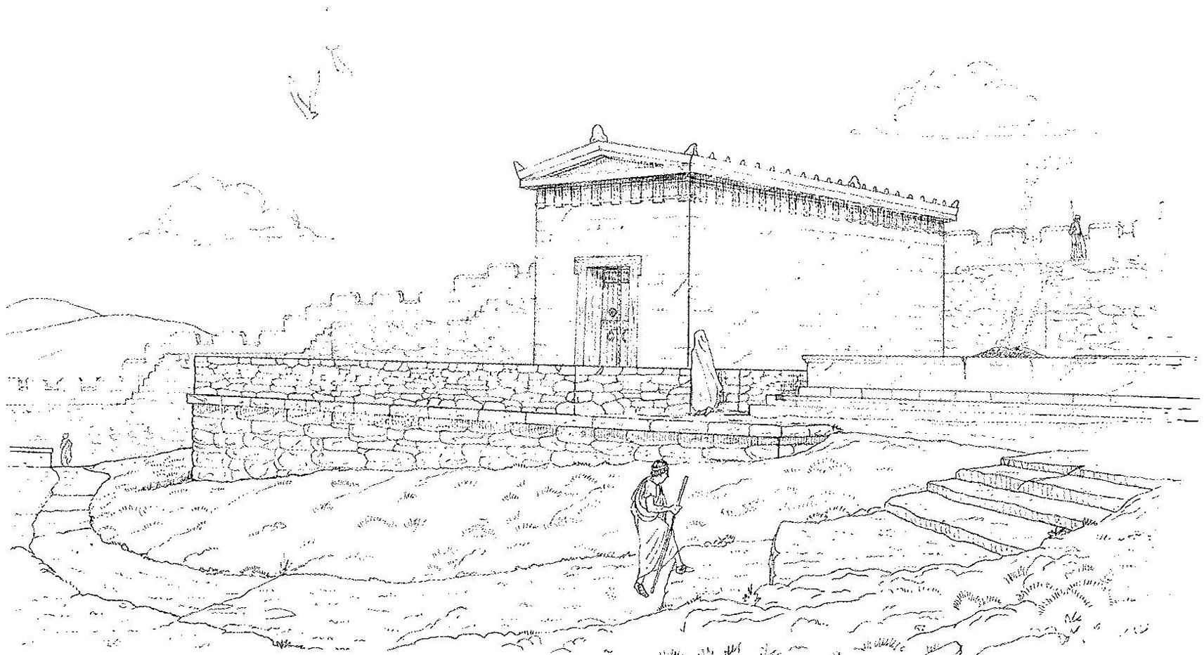 Figure 2 : reconstitution du temple, période hellénistique II (Y. Nakas, 2014)